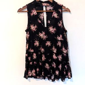 American Eagle floral tank ruffle cut out neckline
